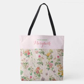 Boda elegante verde rosado floral romántico del bolsa de tela