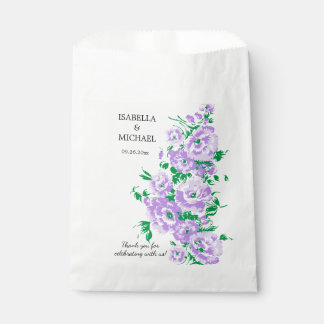 Boda encantador de la flor de la lavanda bolsa de papel