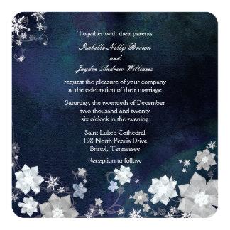 Boda escarchado del invierno de los azules marinos invitación 13,3 cm x 13,3cm