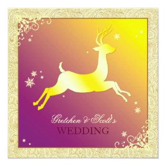 Boda festivo de diciembre del reno del invierno invitación 13,3 cm x 13,3cm