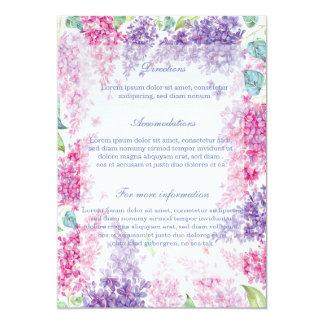 Boda Flor-Floral de la flor de la lila de la Invitación 12,7 X 17,8 Cm