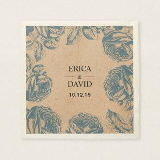 Boda floral azul de la rosaleda del vintage servilleta de papel