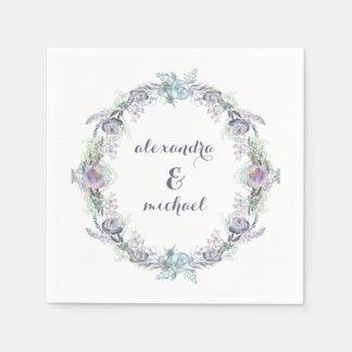 Boda floral azul y púrpura de la guirnalda servilleta desechable