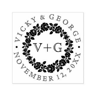 Boda floral blanco y negro de la guirnalda del sello automático
