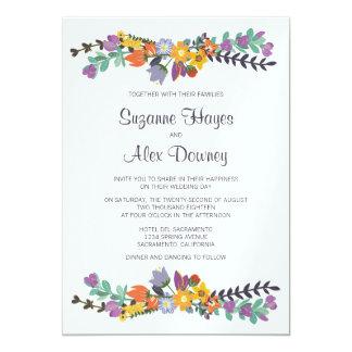 Boda floral brillante de la primavera invitación 12,7 x 17,8 cm
