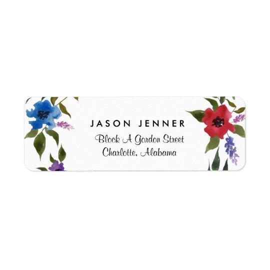 Boda floral caprichoso de la acuarela etiqueta de remite