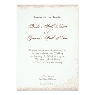 Boda floral color de rosa inglés antiguo del invitación 12,7 x 17,8 cm