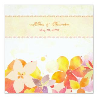 Boda floral de la acuarela de la brisa del jardín invitación 13,3 cm x 13,3cm
