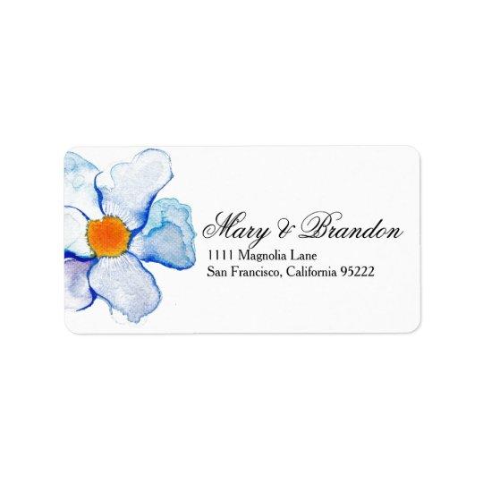 Boda floral de la acuarela del azul y del trullo etiqueta de dirección