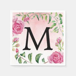 Boda floral de la acuarela del vintage del servilletas de papel