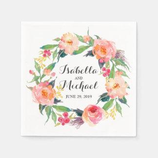 Boda floral de la acuarela elegante servilletas desechables