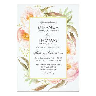 Boda floral de la acuarela rosada romántica de los invitación 12,7 x 17,8 cm