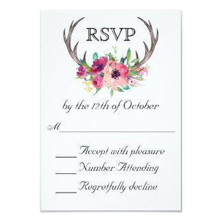 Boda floral de la fascinación de Boho de las astas Invitación 8,9 X 12,7 Cm