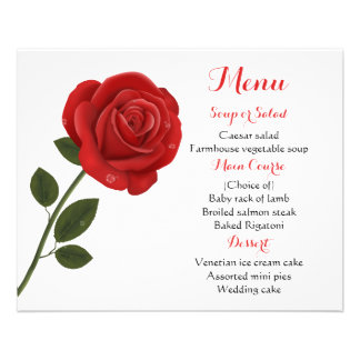 Boda floral de la flor del rosa rojo del menú