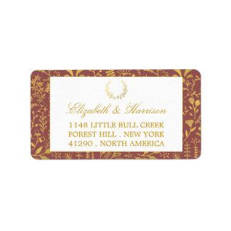 Boda floral de la guirnalda del oro elegante etiquetas de dirección