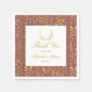 Boda floral de la guirnalda del oro elegante servilleta de papel