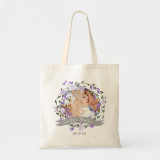 Boda floral de la guirnalda del Peony púrpura Bolso De Tela