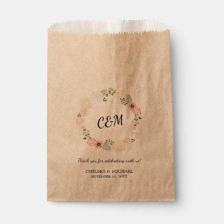 Boda floral de la guirnalda del vintage del bolsa de papel