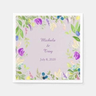 Boda floral de la orquídea bonita de la acuarela servilletas de papel