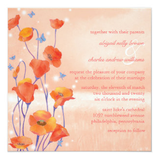 Boda floral de la primavera del campo de la invitación 13,3 cm x 13,3cm