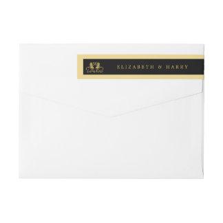 Boda floral de oro del emblema etiquetas postales