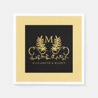 Boda floral de oro del emblema servilletas de papel