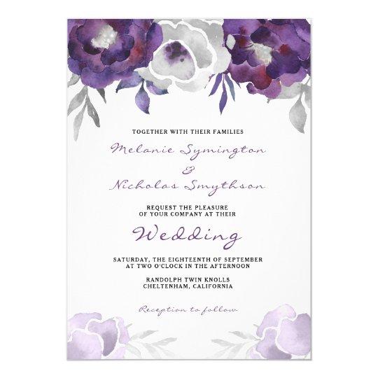 Boda floral de plata púrpura 3963 de la acuarela invitación 12,7 x 17,8 cm