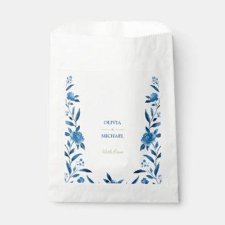Boda floral del Chinoiserie de la acuarela azul Bolsa De Papel