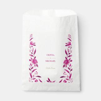 Boda floral del Chinoiserie de la acuarela rosada Bolsa De Papel