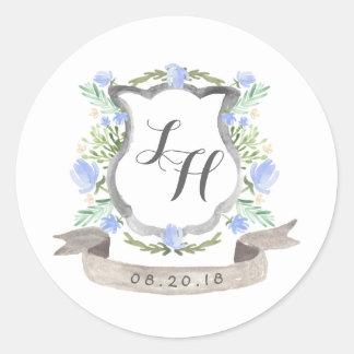 Boda floral del escudo de la primavera pegatina redonda