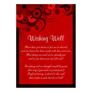 Boda floral del hibisco rojo que desea tarjetas tarjetas de visita grandes
