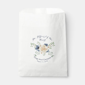 Boda floral del jardín de los azules añiles y del bolsa de papel