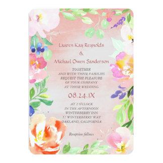Boda floral del marco de la acuarela del verano invitación 12,7 x 17,8 cm