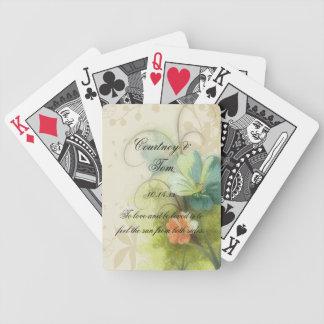 Boda floral del melocotón abstracto del trullo baraja de cartas bicycle