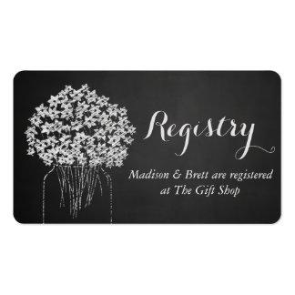 Boda floral del tarro de albañil de la pizarra del tarjetas de visita