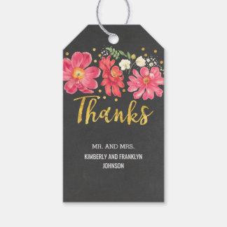 Boda floral del vintage del confeti del oro de la etiquetas para regalos