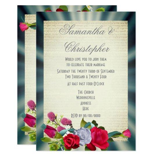 Boda floral del vintage del ramo de la flor invitación 12,7 x 17,8 cm