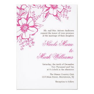 Boda floral elegante de la prensa de copiar invitación 12,7 x 17,8 cm