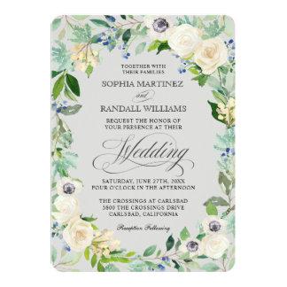 Boda floral elegante de los rosas blancos invitación 12,7 x 17,8 cm