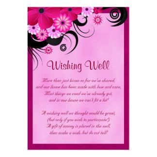 Boda floral fucsia ligero que desea tarjetas bien tarjetas de visita grandes