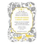 Boda floral gris y amarillo del vintage del amor invitación 12,7 x 17,8 cm
