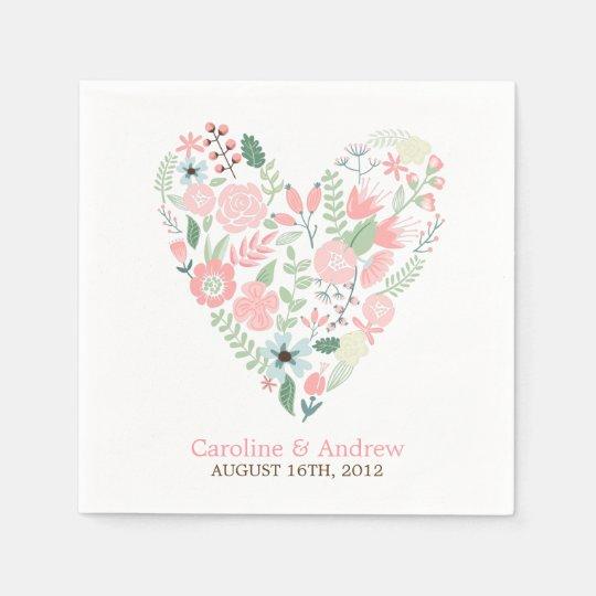 Boda floral moderno del corazón servilleta desechable