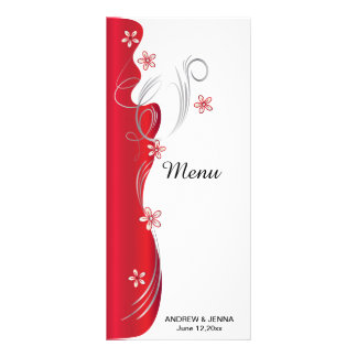 Boda floral moderno el | de color rojo oscuro y de folleto publicitario 10 x 22,8 cm