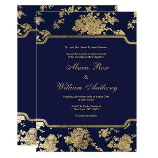 Boda floral oro elegante elegante de los azules invitación 12,7 x 17,8 cm