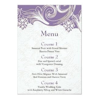 Boda floral púrpura y blanco de la primavera invitación 12,7 x 17,8 cm