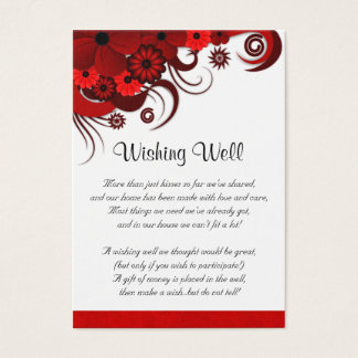 Boda floral rojo y blanco que desea tarjetas bien