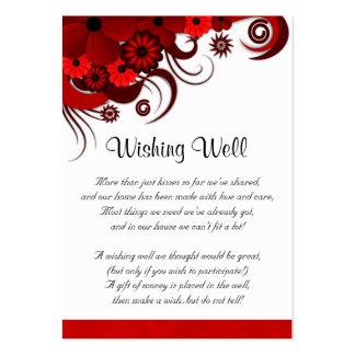 Boda floral rojo y blanco que desea tarjetas bien tarjetas de visita grandes