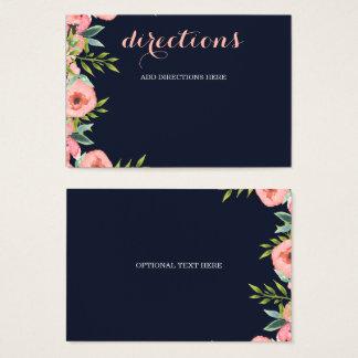 Boda floral romántico del melocotón de los azules tarjeta de visita