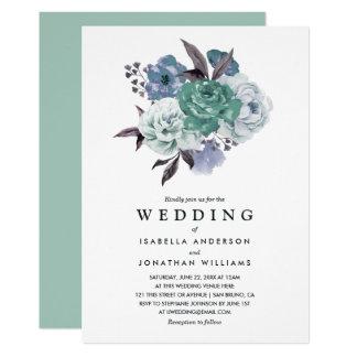 Boda floral romántico elegante de la primavera de invitación 12,7 x 17,8 cm