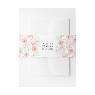 Boda floral rosado de la acuarela cintas para invitaciones